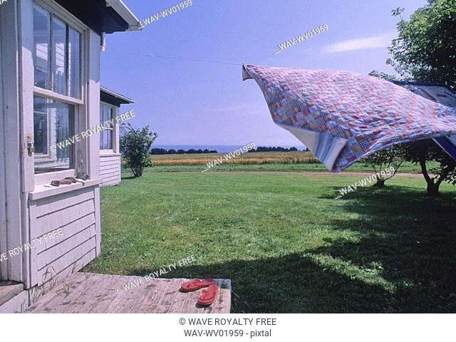 Handmade Quilt blowing on laundry line, farmhouse and ocean visible, PEI