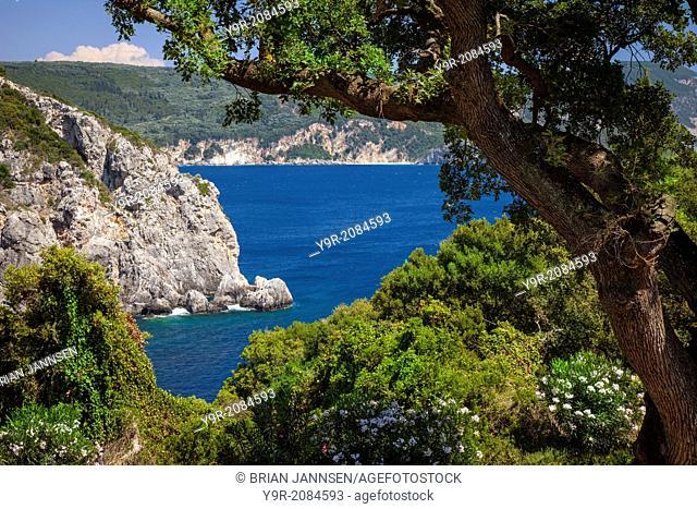 Blue waters off the coast of the Ionian island of Corfu, Greece