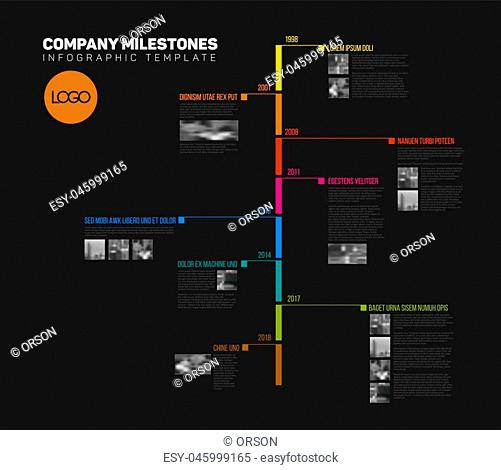 Vector Infographic timeline report template with the biggest milestones, icons, years and color buttons - vertical dark version