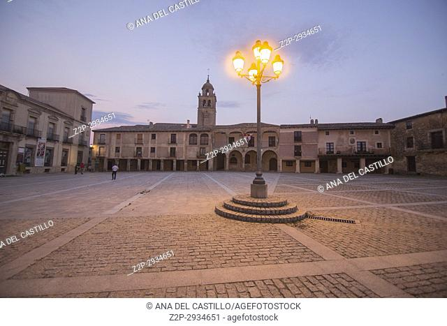 Main square of Medinaceli twilight, Soria province, Castilla-Leon,. Spain