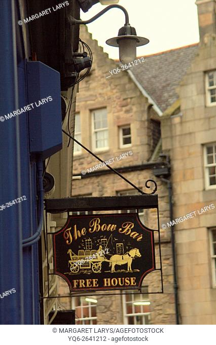 Close up of The Bow Bar sign in Edinburgh, Scotland, UK
