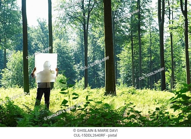 Man in the woods, looking at blueprint