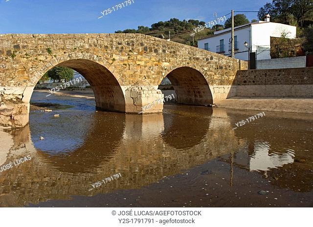 Roman bridge and river Galindon, San Nicolas del Puerto, Seville province, Region of Andalusia, Spain, Europe