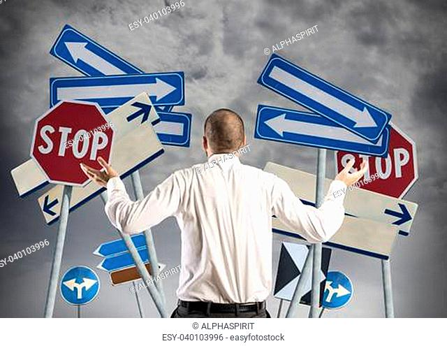 Concept of Choices and confusion of a businessman