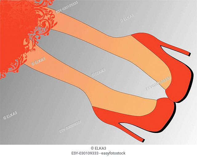 composition of legs in red shoes with high heels