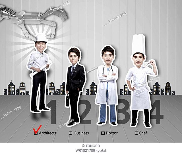 Four men with different professions