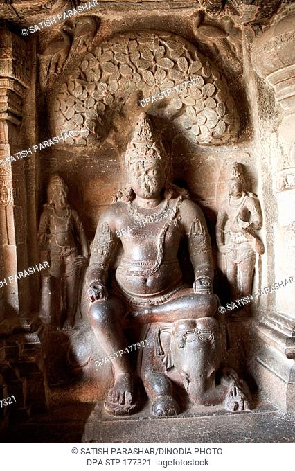 Statue of lord indra in ellora jain cave at indra sabha , Aurangabad , Maharashtra , India