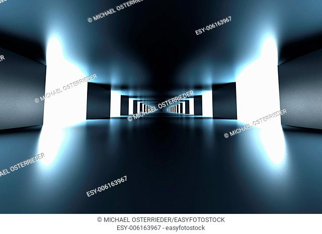 A modern hallway interior. 3d illustration