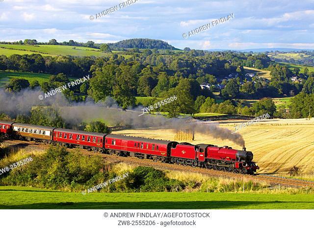 Steam locomotive LMS Jubilee Class 45699 Galatea near Low Baron Wood Farm, Armathwaite,Settle to Carlisle Railway Line, Eden Valley, Cumbria, England, UK