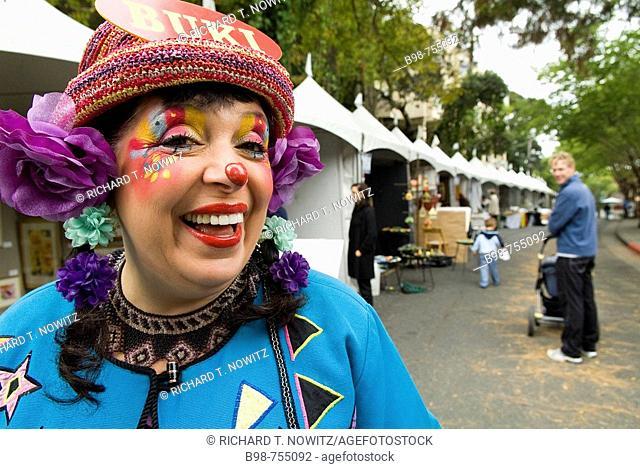 Tiburon, California, Buki the Clown at street fair  MR