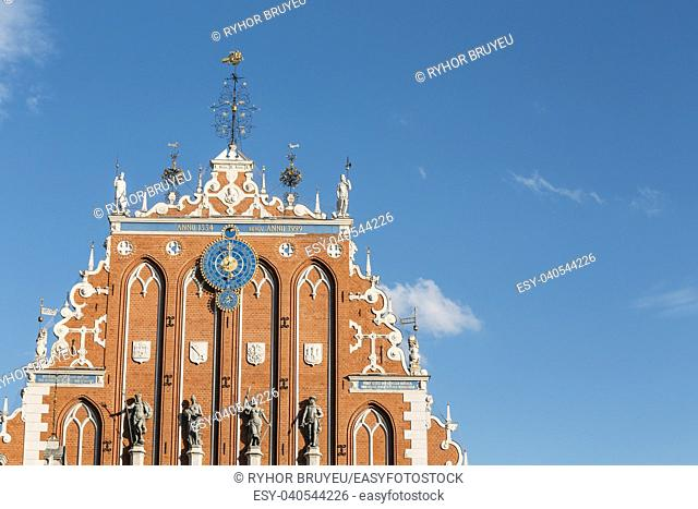 Sculptures On The Facade Of The House Of Blackheads In Riga, Latvia. Famous Landmark. Travel Destination. Town Hall Square
