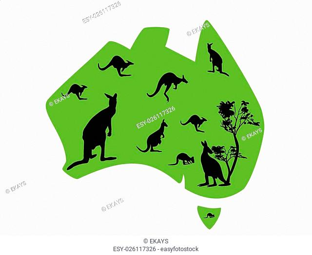 green map of Australia with lots of kangaroos