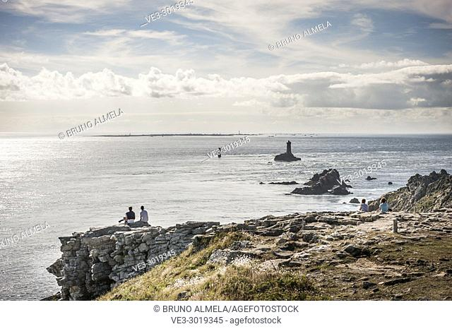 Tourists in Pointe du Raz (Grand site de France) in Sizun Cape, near Plogoff (department of Finistère, region of Bretagne, France)