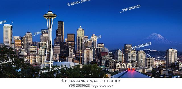 Twilight over Seattle Washington with Mt Rainier beyond, USA