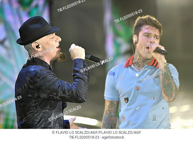J-AX with Fedez during the tv show Che tempo che fa, Rome, ITALY-27-05-2018