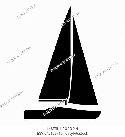 Yacht icon black color vector illustration flat style simple image