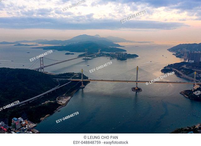 Hong Kong 12 February 2019: Tsing Ma bridge and Ting Kau bridge