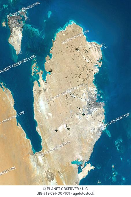 Satellite view of Qatar and Bahrain. This image was compiled from data acquired by Landsat 8 satellite in 2014