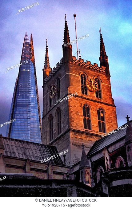 Southwark Cathedral  from the late Middle Ages, and The Shard, Europe's tallest office building, in the heart of London, England
