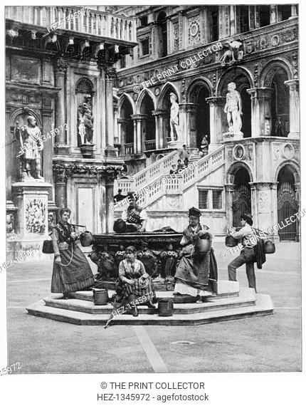 Courtyard of the Ducal (or Doge's) Palace, Venice, late 19th century. Illustration from Portfolio of Photographs, of Famous Scenes, Cities and Paintings