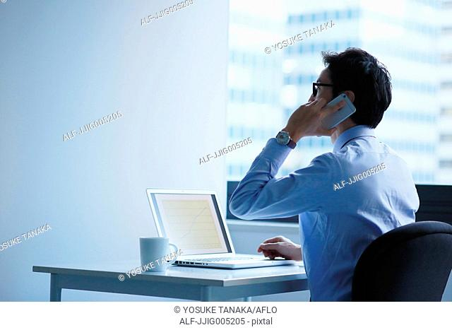 Japanese businessman in a modern office