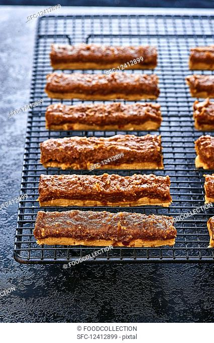 Caramel and almond bars with peanut butter
