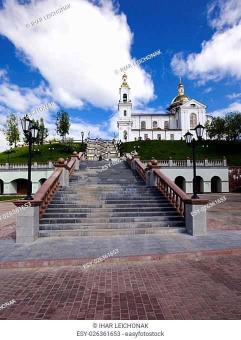 located on a hill church to which a staircase. Belarus