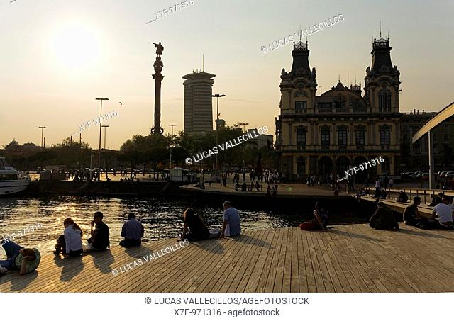 Barcelona: Skyline in the port of barcelona, as seen from Rambla de Mar  At left Christopher Columbus monument