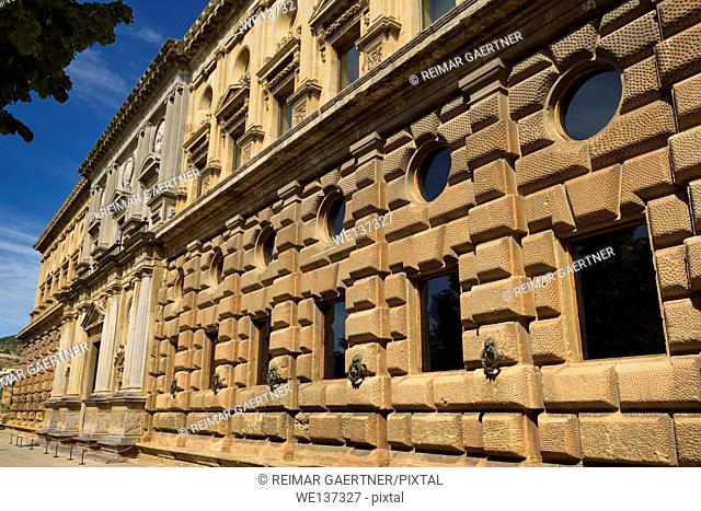 Lower rustication and upper ashlar at south side of the Palace of Charles V at Alhambra in Granada Spain