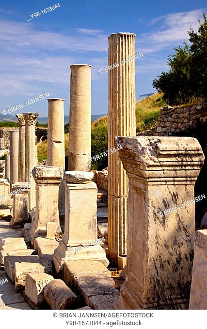 Ancient columns and Statue pedestals line the Street of Curetes in Ephesus, near Selcuk Izmir Turkey