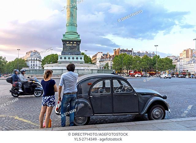 Paris, France, Young French Couple with Vintage Car, Street Scenic, Place de la Bastille