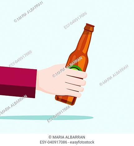 Left hand holding a beer bottle and blue background. Vector illustration