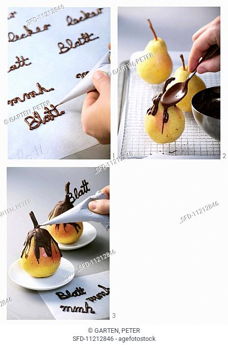 A pear being coated in chocolate, and chocolate writing being created