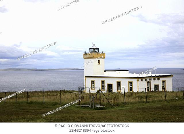 A lighthouse near duncansby head, Scotland, Highlands, United Kingdom