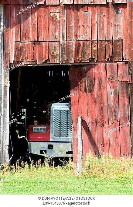 Truck in a barn in Sunderland, Massachusetts, USA