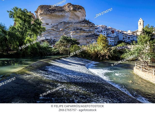 Recreation area on the River Jucar, beautiful mountain views limestone next to the city, take in Alcala of the Jucar, Albacete province, Spain
