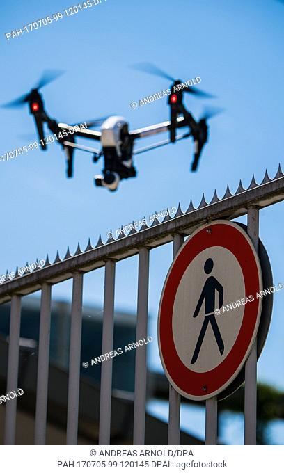 A drone in flight during a demonstration in Langen, Germany, 5 July 2017. The German Air Navigation Service (DFS) hosted an event providing information on the...