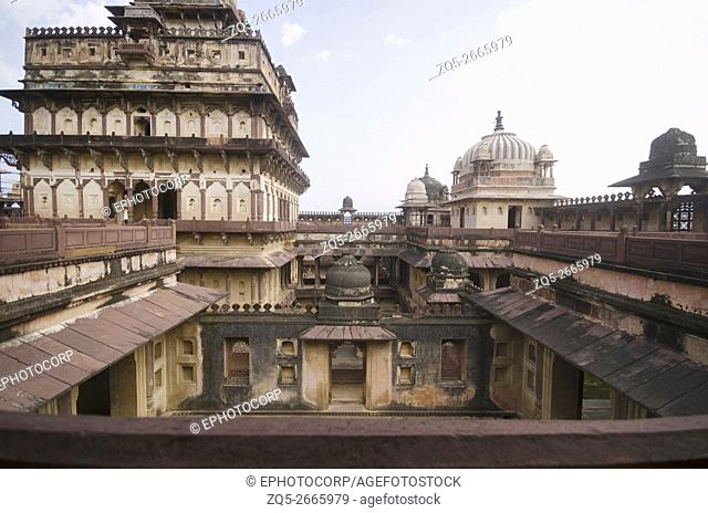 Inner view of Datia Palace, Also known as Bir Singh Palace or Bir Singh Dev Palace. Datia, Madhya Pradesh, India