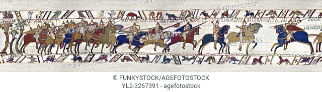 11th Century Medieval Bayeux Tapestry - Scene 48 - The Normans from up into battle formation. Scene 49 - William is told that the Saxon army is close