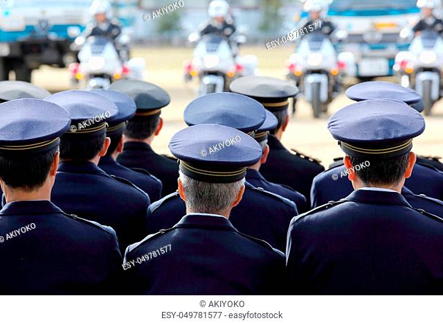 Japanese police officers, police motorcycle, Sietusiki ceremony