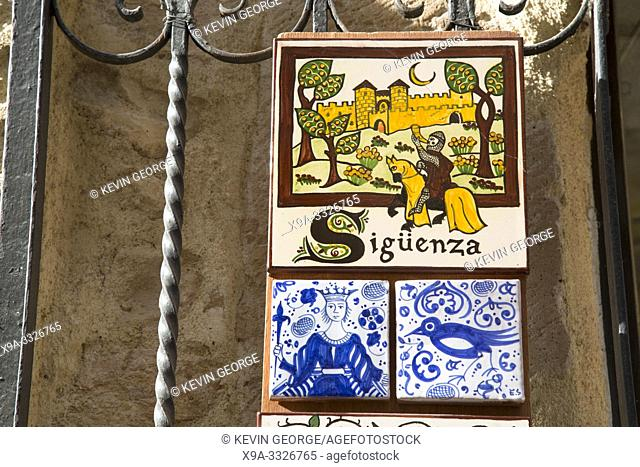 Decorative Tiles in Gift Shop; Calle Mayor Street; Siguenza; Guadalajara; Spain