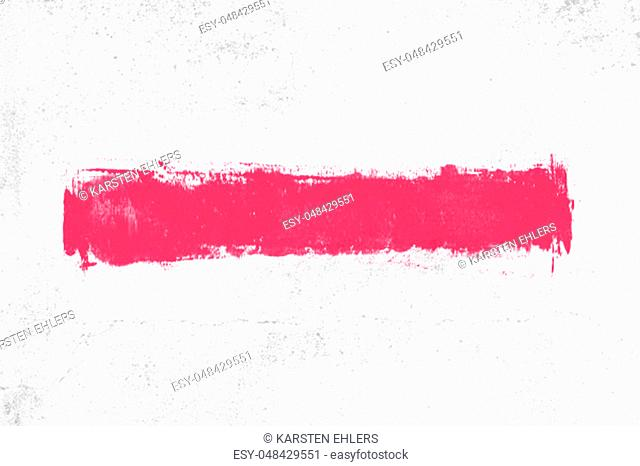 White concrete wall background with dirty red brush stripe