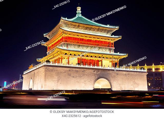 The Bell Tower at the city downtown at nighttime in Xi'an, Shaanxi, China 2014