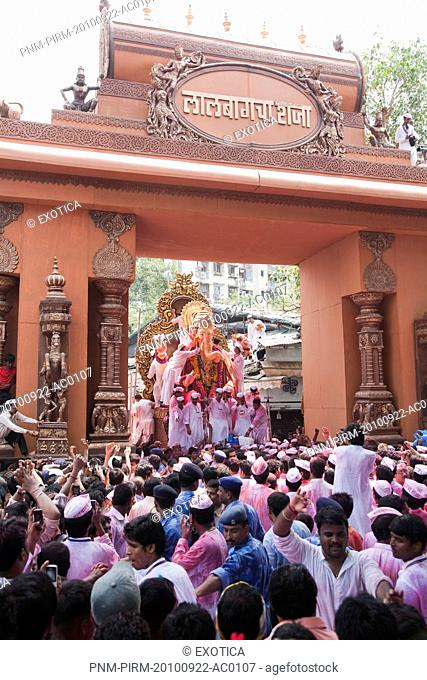 Crowd at religious procession during Ganpati visarjan ceremony, Mumbai, Maharashtra, India