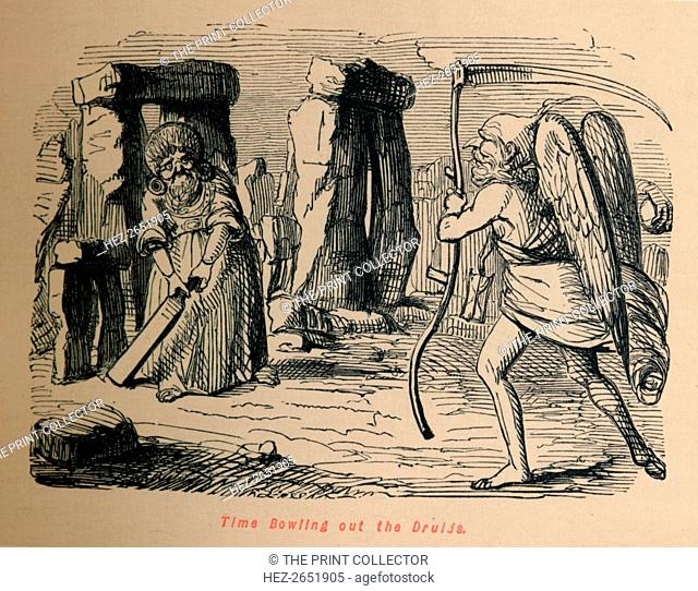 'Time Bowling out the Druids', c1860, (c1860). From The Comic History of England, Volume I, by Gilbert A A'Beckett. [Bradbury, Agnew, & Co., London]