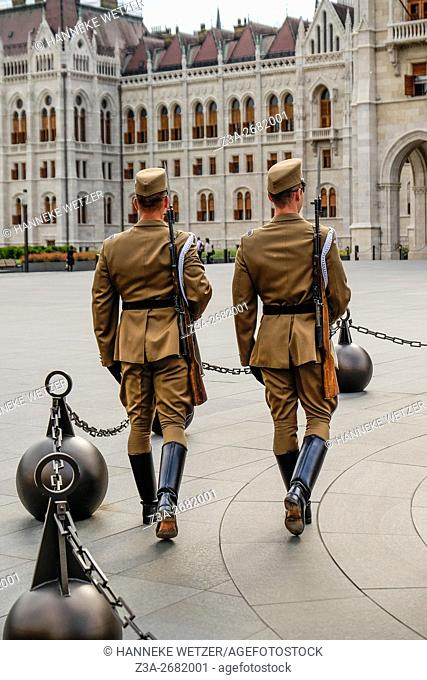 Honour Guards outside the Hungarian Parliament Building in Budapest, Hungary