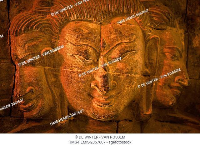 Myanmar (Burma), Mandalay Division, Myinkaba, Nan Paya Temple, interior basrelief