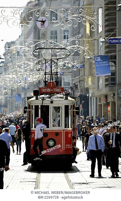 Historic tram, Istiklal Caddesi shopping street, Independence Street, Beyoglu, Istanbul, Turkey, Europe, PublicGround
