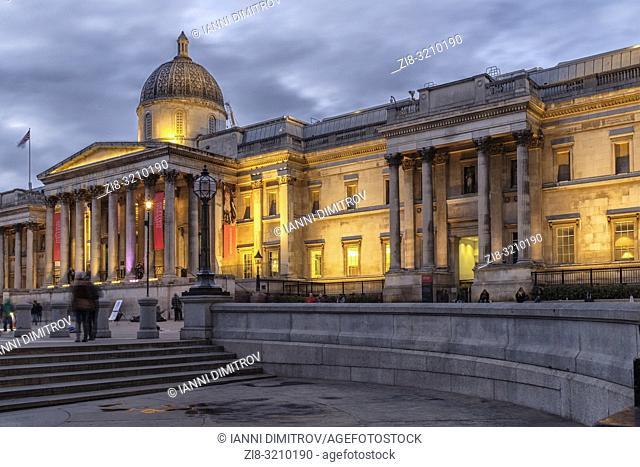 England ,London,Trafalgar Square, The National Gallery at night