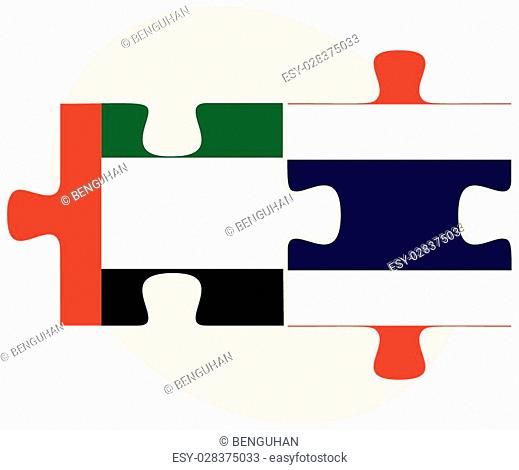 United Arab Emirates and Thailand Flags in puzzle isolated on white background